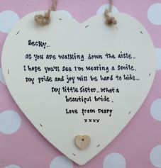 Shabby Personalised Chic Present for A Sister Bride On Her Wedding..